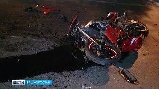 В Башкирии мотоцикл въехал в такси