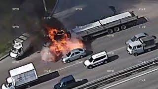 В Уфе на проспекте Салавата Юлаева загорелся и взорвался грузовик