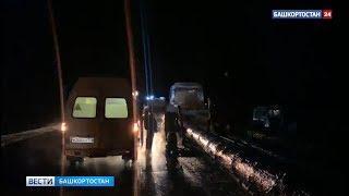 Легковушка протаранила стоящий на обочине трактор-лесовоз в Башкирии