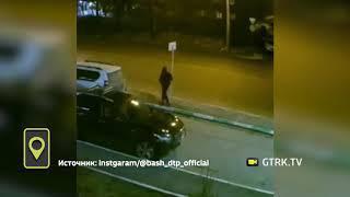 Житель Уфы подрался с дорожным знаком – видео