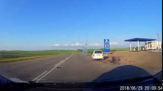 Момент аварии с мотоциклом в Башкирии. Караидельский район, 30 июня 2018