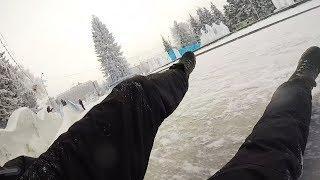 Тест-драйв ледяной горки на площади Ленина перед горсоветом