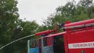 Лопнула пожарная машина