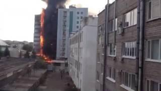 Пожар на улице Зорге в Уфе.