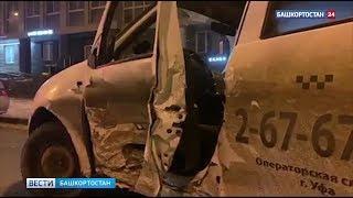 В Уфе ночью столкнулись «Тойота Карина» и такси: один человек госпитализирован