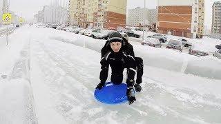 Тест-драйв ледяной горки на улице Мубарякова