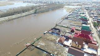 Дома и улицы в воде: зона подтопления Уфимского района с высоты птичьего полета