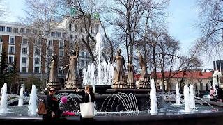 Достопримечательности Уфы. 7 девушек. Танцующий фонтан в Уфе.