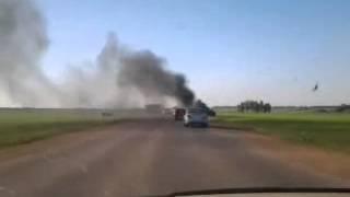 Башкортостан, Алексеевка, авария - машина сгорела