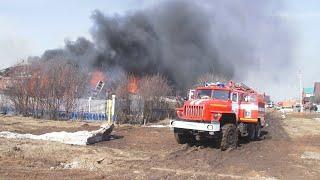 Серьезный пожар в частном секторе