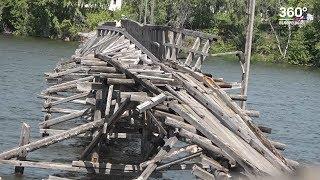 В Белорецке обрушилась часть деревянного моста через пруд