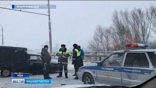 Массовая авария произошла в Уфе из-за гололёда