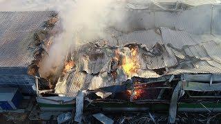 Крупный пожар на складе туалетной бумаги в Волгограде