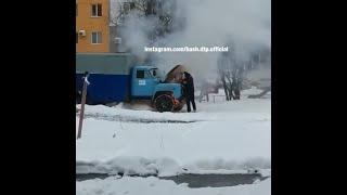 В Ишимбае горящий грузовик потушили снегом | Ufa1.RU