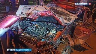 В Уфе три человека пострадали в жёстком столкновении легковушки с грузовиком