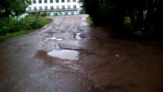 Разбитая дорога по улице Чехова Благовещенск Башкирия