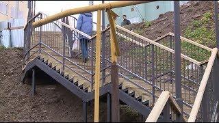 В Уфе на улице Армавирской установили лестницу на месте опасного склона