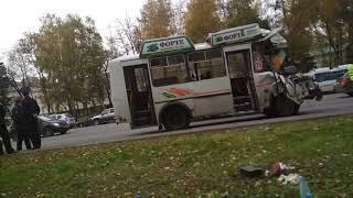 Авария автобусов на проспекте 10 октября 2018