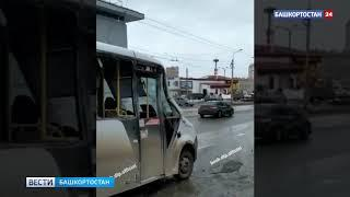 В Уфе автобус с пассажирами столкнулся с мусоровозом – видео