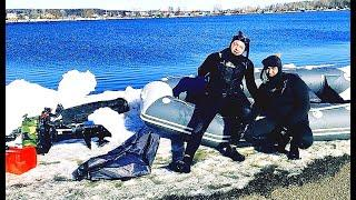 Подводная охота на Амура зимой в Башкирии.