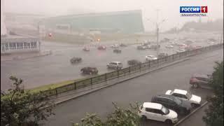 Мощный ливень с градом обрушился на Уфу