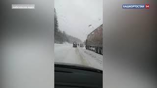 """В Белорецком районе Башкирии образовалась """"пробка"""" из большегрузов"""