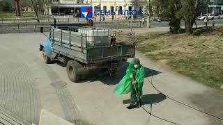 Дезинфекция площади Ленина в Астрахани