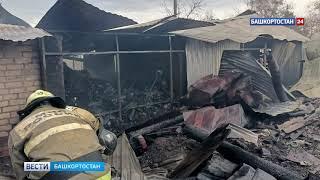 Крупный пожар в Башкирии: сильный ветер спалил два дома, баню и гараж (ВИДЕО)