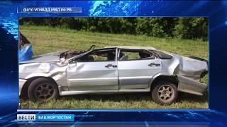 В Башкирии автомобиль «примяло» после двойного столкновения: водитель был без прав