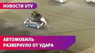 В Уфе на проспекте Октября от удара машину развернуло вокруг своей оси