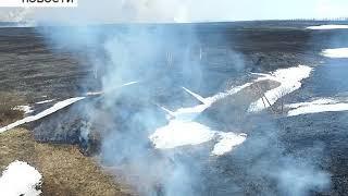 В Бирском районе горят поля с сухой травой
