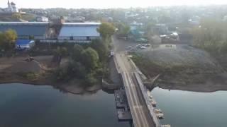Башкирия. Бирск, понтонный мост. Вид с высоты.