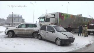 «Не успели посыпать»: на трассе М5 в Башкирии столкнулись 30 машин