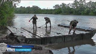 В Стерлитамаке вместо аварийного моста военные установили понтонный