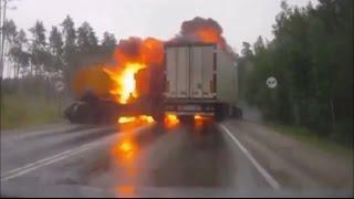 Подборка страшных аварий с возгоранием / Car crash compilation 18+