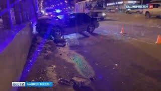 На проспекте Октября в Уфе пьяный водитель врезался в иномарку и от удара влетел в светофор