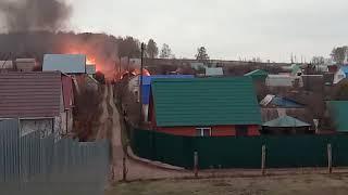 Пожар в Уфе, возле лагеря восход