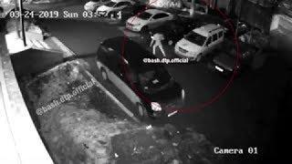 В Уфе сняли на видео, как неизвестный облил машину зеленкой