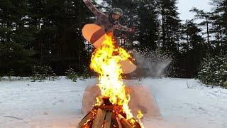 На сноуборде за машиной !