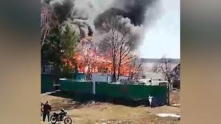 Под Уфой горит жилой дом
