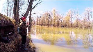 Ловля СУДАКА весной в МУТНОЙ воде. Рыбалка весной на Малой реке [Sibiryak007]