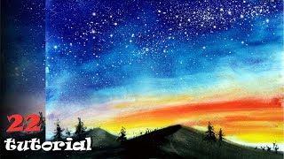 Как нарисовать (рисовать) КОСМОС//небо красками без кистей?