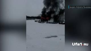 Пожар на барже в Уфе