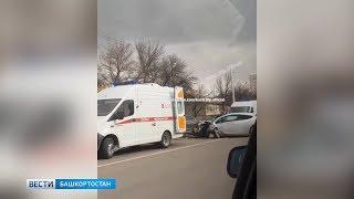 В Уфе столкнулись три авто: четыре человека пострадали