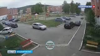 В Башкирии пьяная автоледи протаранила припаркованное авто и проехала по пешеходу - видео
