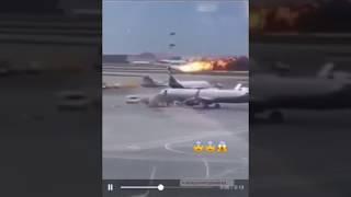 Появилось видео момента приземления горящего самолета в Шереметьево