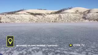 В Башкирии лебеди вмерзли в лед на пруду