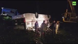 Кадры с места аварии с участием автобуса в Башкирии