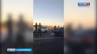 На мосту выехал на встречку: в Уфе лоб в лоб столкнулись иномарка и газель (Видео)