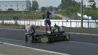 Укладка новой беговой дорожки на стадионе «Металлург»